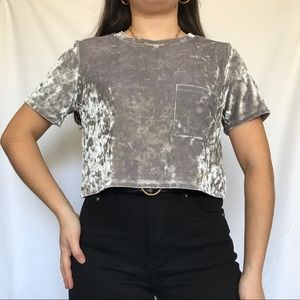 4/$25 Forever 21 crushed velvet silver crop top